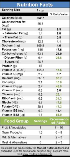 Oatmeal AppleCranAlmond Nutrition Fact