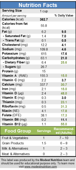 Oatmeal AppleCranAlmond Nutrition Fact